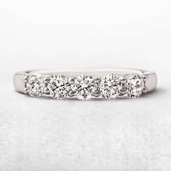 0.75ct Platinum Five Stone Diamond Eternity Ring
