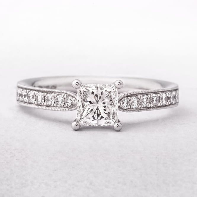 0.75ct White Gold Princess Cut Diamond Solitaire Ring