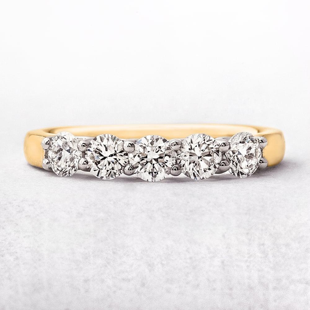 yellow gold five stone diamond eternity ring. Black Bedroom Furniture Sets. Home Design Ideas