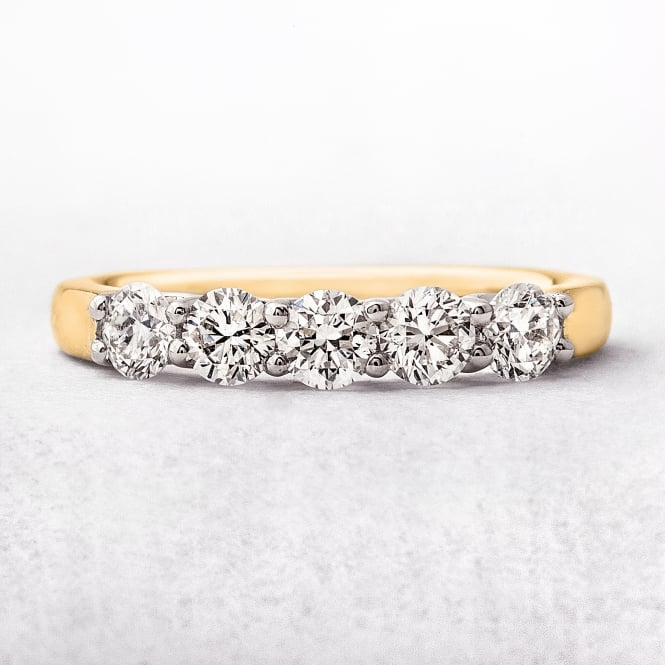 0.75ct Yellow Gold Five Stone Diamond Eternity Ring