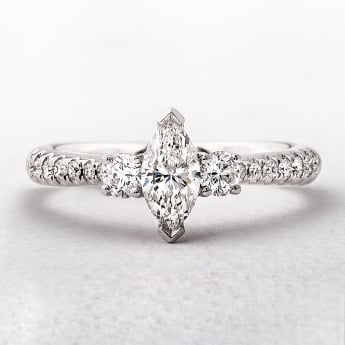 0.76ct White Gold Marquise SolitaireWith Side Diamonds