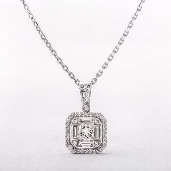0.77ct Multi Stone Square Diamond Halo Style Pendant