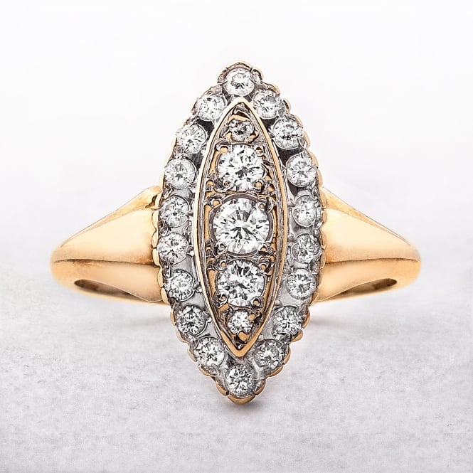 0.80ct Diamond Marquise Shape Cluster Ring