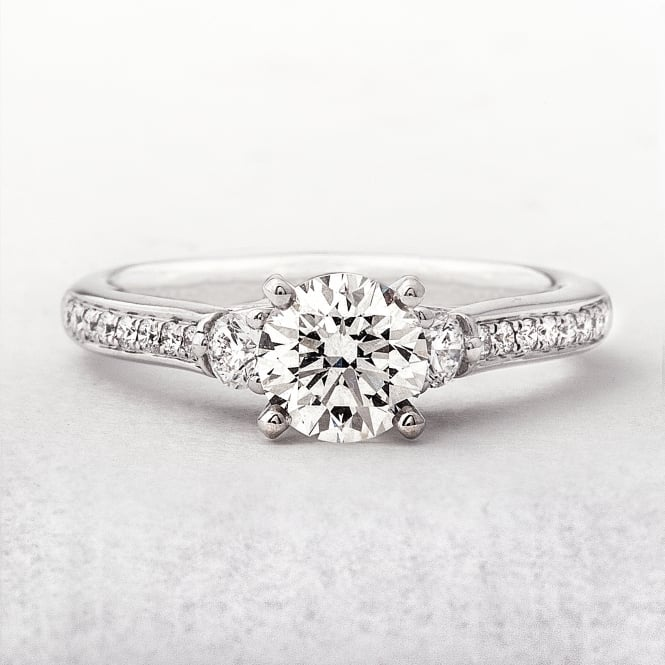 0.83ct White Gold Solitaire With 0.29ct Pave Set Diamonds