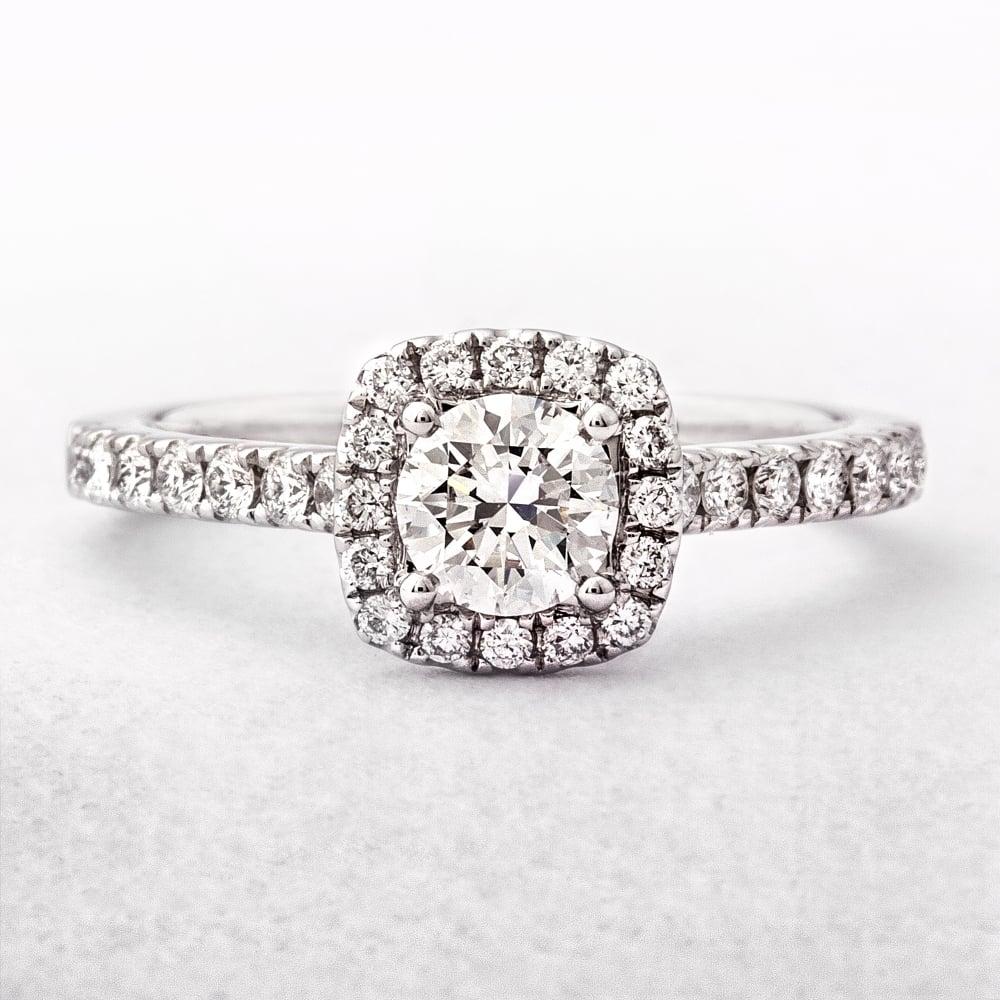 0 84ct Round Cut Cushion Shape Diamond Halo Ring