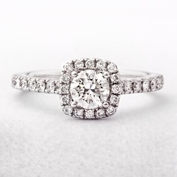 0.84ct Round Cut Cushion Shape Diamond Halo Ring