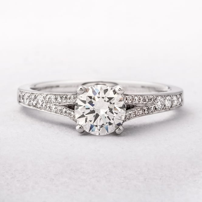 0.87ct White Gold Diamond Solitaire With Pave Set Diamond Shoulders