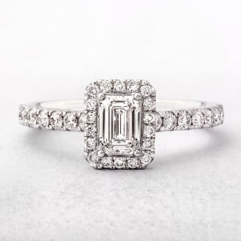 0.88ct Emerald Cut Diamond Halo Style Engagement Ring