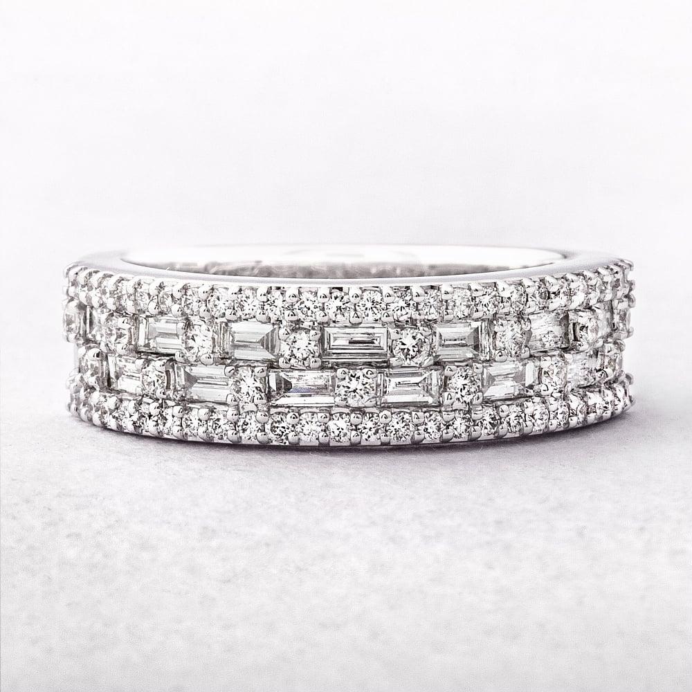 ladies multi stone four row diamond dress ring. Black Bedroom Furniture Sets. Home Design Ideas