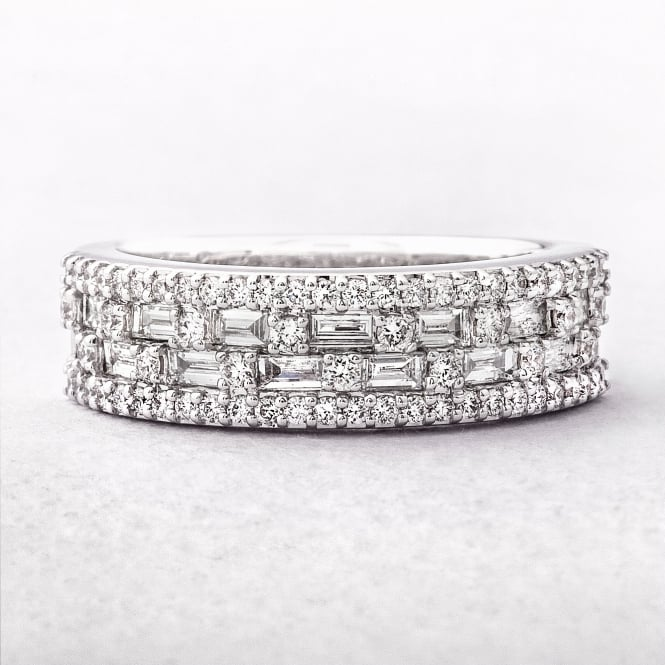 0.90ct Multi Stone Four Row Diamond Dress Ring