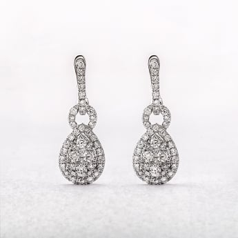 0.90ct White Gold Pear Shaped Diamond Drop Earrings