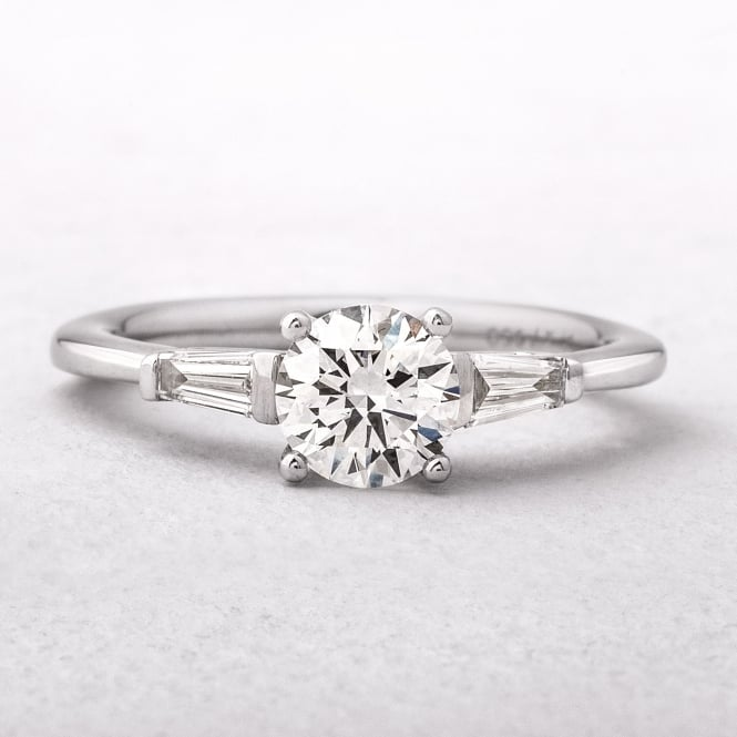 0.92ct Platinum Solitaire With Tapered Baguette Side Diamonds