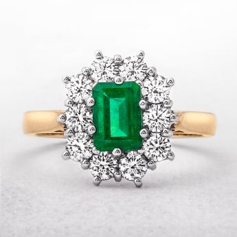 0.93ct Emerald & 0.94ct Diamond Cluster Ring