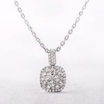 0.96ct Cushion Cut Multi Stone Diamond Cluster Pendant