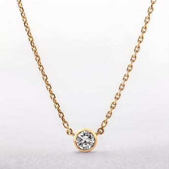 0.96ct Solitaire Pendant on Yellow Gold Chain