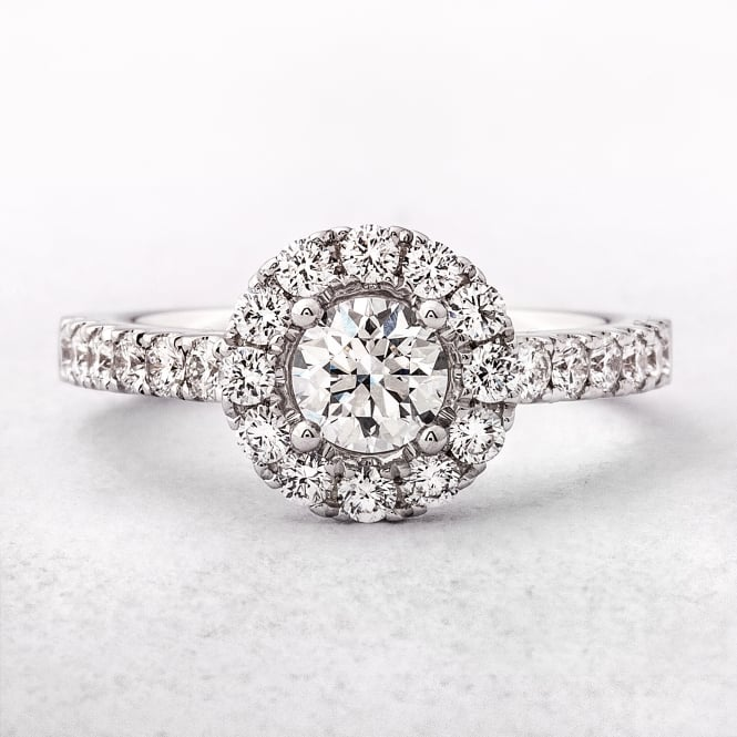 0.97ct White Gold Round Cut Diamond Halo Engagement Ring