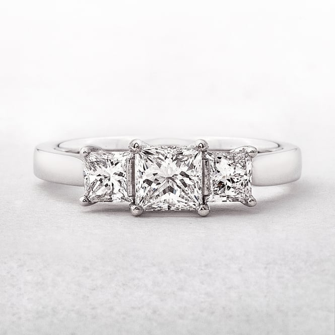 0.98ct Platinum Three Stone Princess Cut Diamond Ring