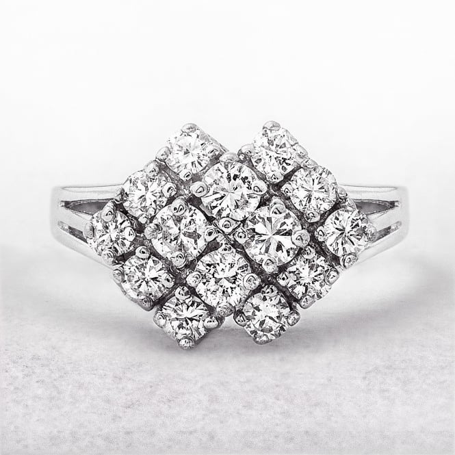 1.00ct White Gold Diamond Cluster Ring