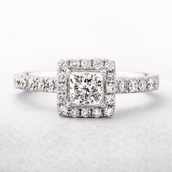 1.01ct Princess Cut Diamond Halo Engagement Ring