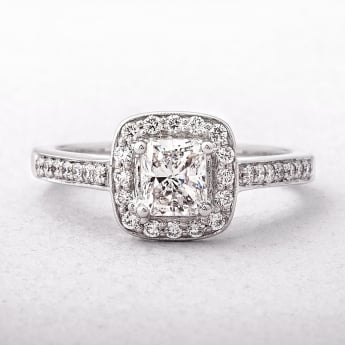 1.01ct Radiant Cut Diamond Halo Style Ring