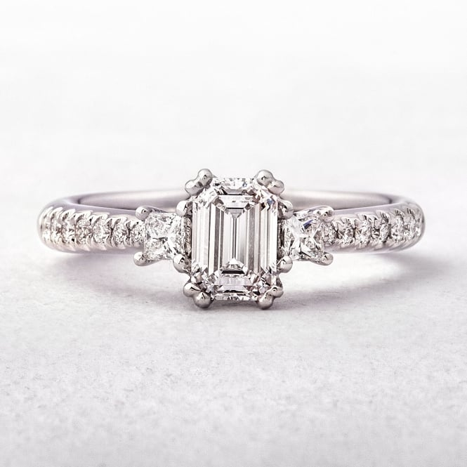 1.02ct Emerald Cut Diamond Solitaire Ring with Princess & Round Cut Diamonds