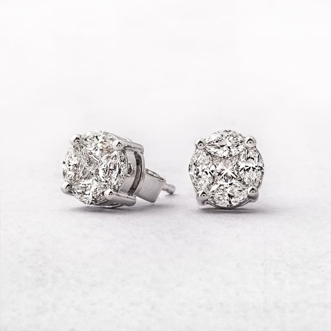 1.02ct Multi Stone Diamond Stud Earrings