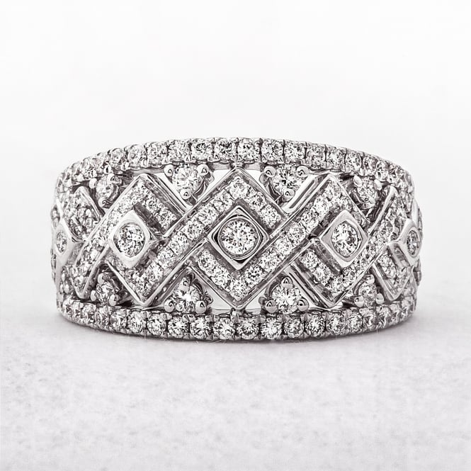 1.02ct Wide Diamond White Gold Dress Ring