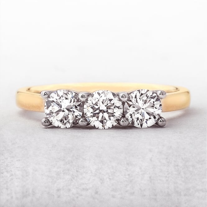 1.02ct Yellow Gold Three Stone Diamond Ring