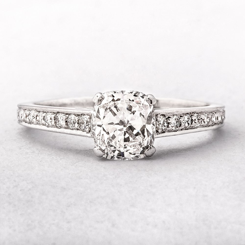 Cushion Cut Enement Rings Solitaire   Platinum Cushion Cut Diamond Engagement Ring