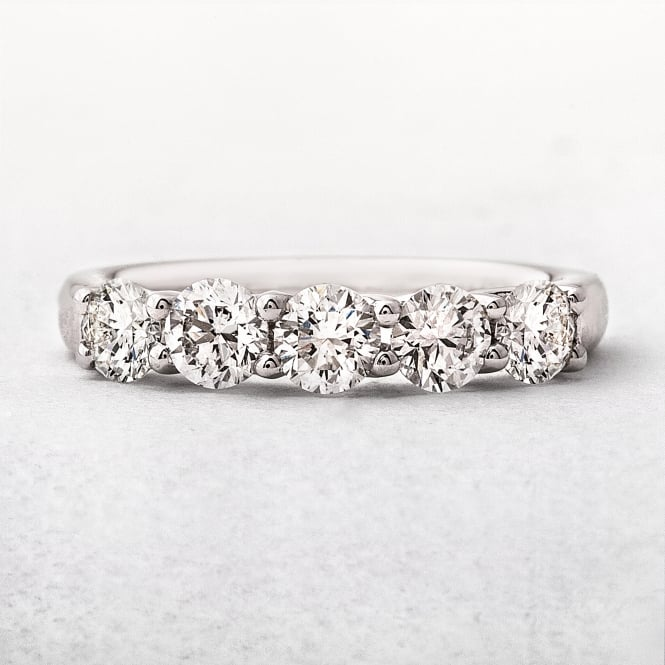 1.04ct Platinum Five Stone Diamond Eternity Ring