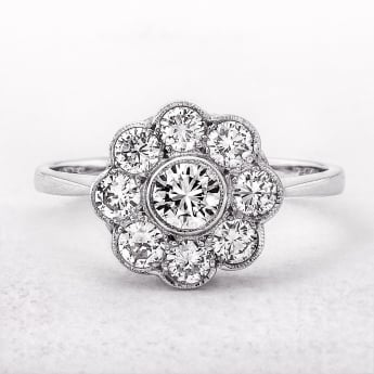 1.05ct White Gold Nine Diamond Cluster Ring