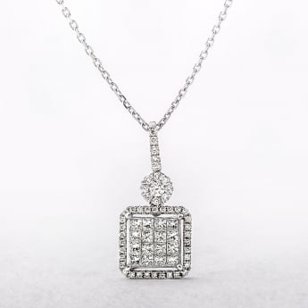 1.06ct Multi Stone Diamond Cluster Pendant