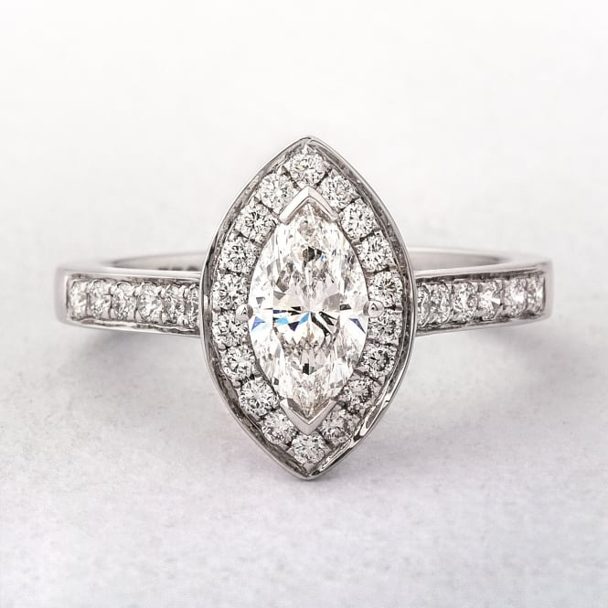 1.12ct Marquise Cut Diamond Halo Style Ring