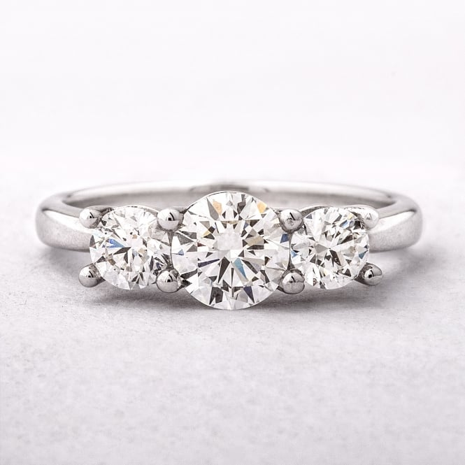 1.12ct Round Brilliant Cut Three Stone Diamond Ring