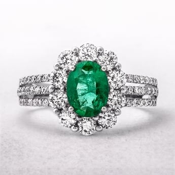 1.13ct Oval Emerald & Triple Band Diamond Ring