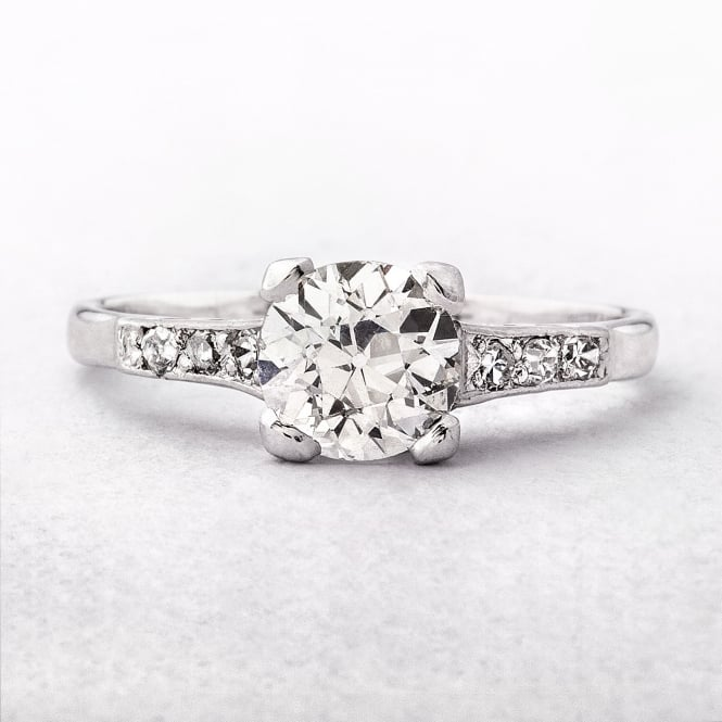 1.15ct Platinum & 18ct White Gold Vintage Solitaire Diamond Ring