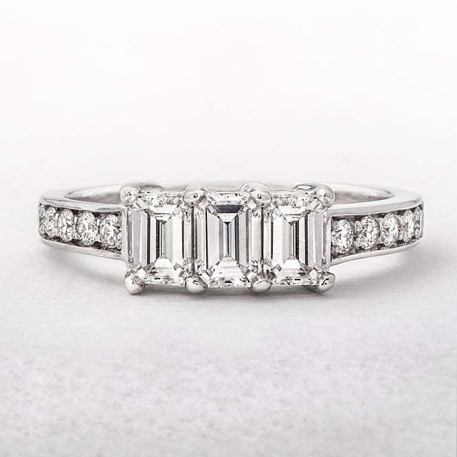 1.24ct Emerald Cut 3 Stone Diamond Ring