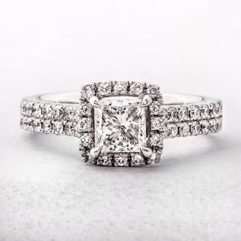 1.28ct Platinum Princess Cut Halo Style Diamond Ring