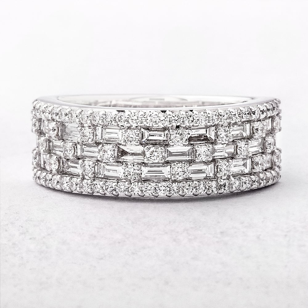 five row multi stone diamond ring. Black Bedroom Furniture Sets. Home Design Ideas