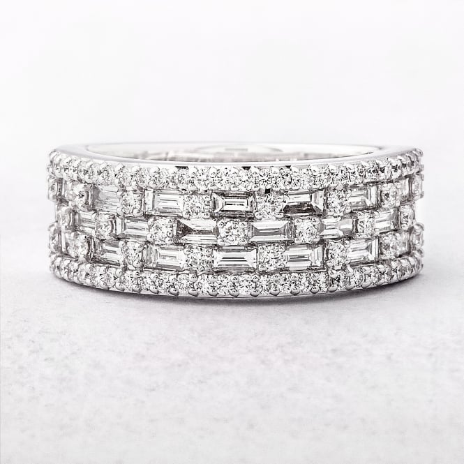1.29ct Multi Stone Five Row Diamond Dress Ring