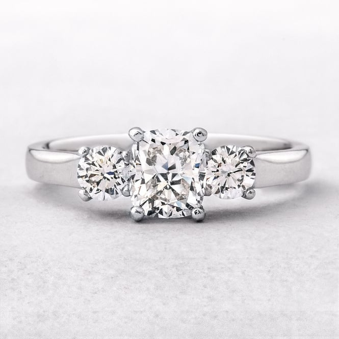 1.29ct White Gold Cushion and Round Brilliant Cut Diamond Three Stone Ring