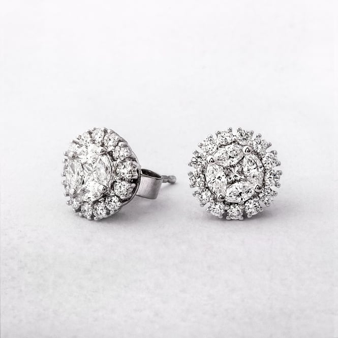 1.31ct Multi Stone Diamond Halo Stud Earrings