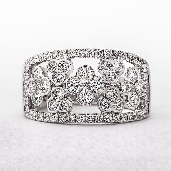 1.38ct Wide Diamond White Gold Dress Ring