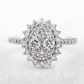 1.54ct Multistone Cluster Diamond Dress Ring
