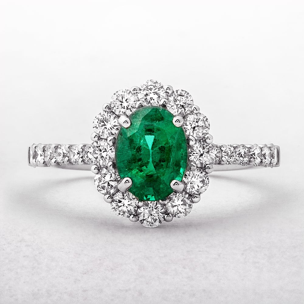 image rings emerald ring and cluster cut diamond oval