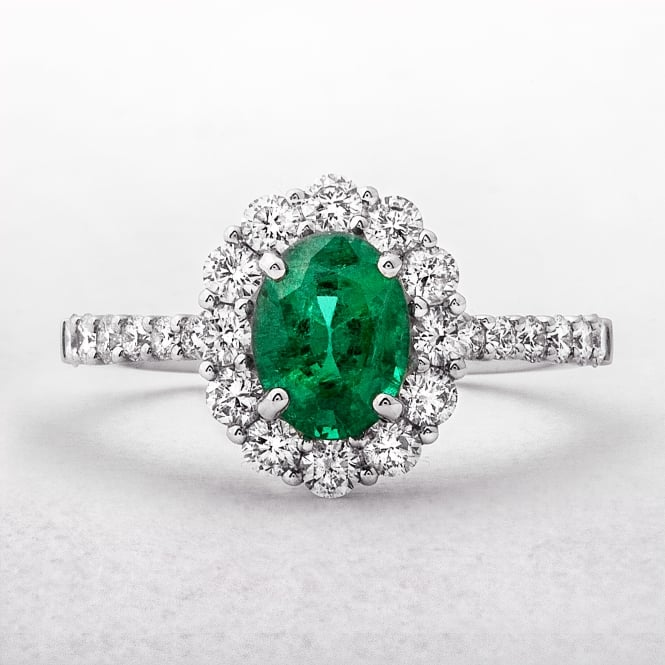 1.54ct Oval Cut Emerald Cluster Ring