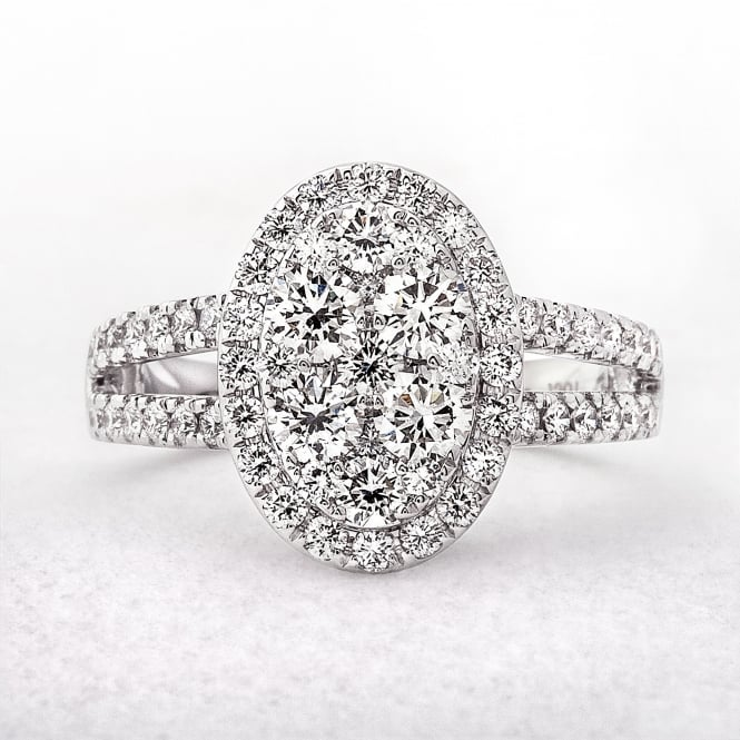 1.57ct Oval Shaped White Gold Diamond Dress Ring