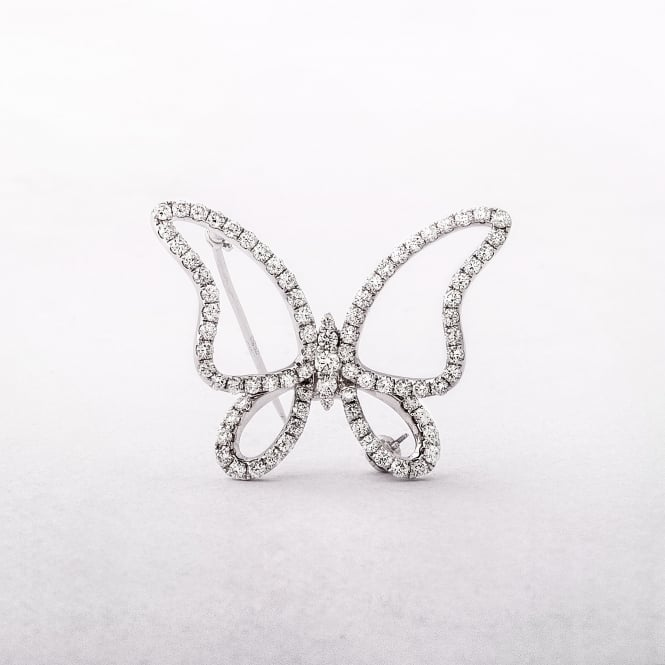 1.58ct White Gold Diamond Butterfly Brooch