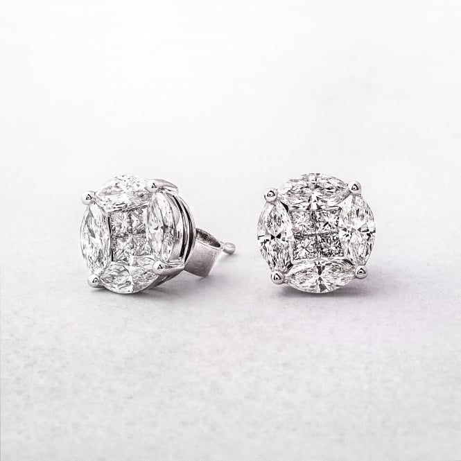 1.61ct Multi Stone Diamond Stud Earrings