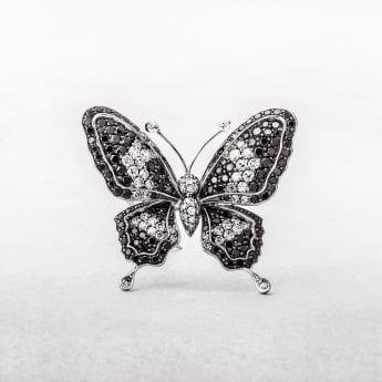 1.70ct White & Black Diamond Butterfly Brooch